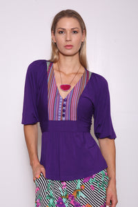 Luisa Upcycled Top (from Dress) with Reclaimed Front Yoke, Eggplant/Multi Stripe