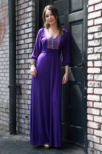 Lulu Maxi Dress with Front Yoke Inset, Eggplant/Multi Stripe