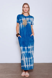 Madison Upcycled Eco-Dye Column Dress, Indigo