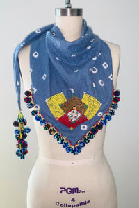 Magani Tangkulo Scarf (indigenous), Denim-Gold-Yellow