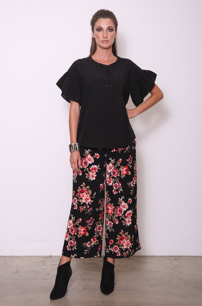 Marisa Flat-Front Crop Pants, Black/Red Floral