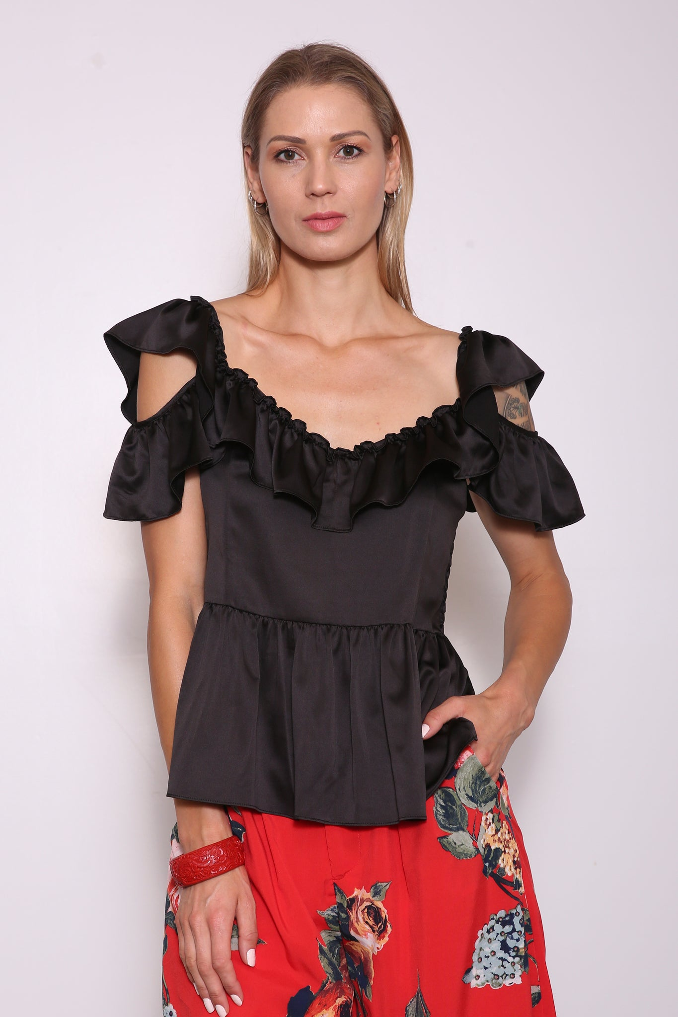 Merced Upcycled Peplum Top (from Dress), Black