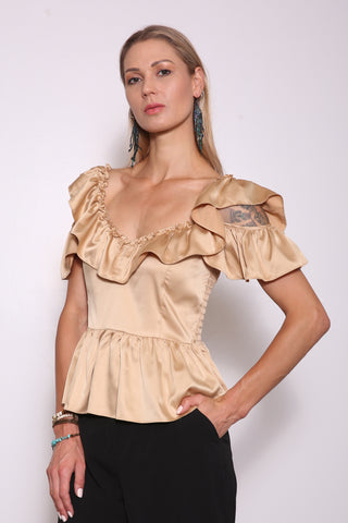 Merced Upcycled Peplum Top (from Dress), Champagne Gold
