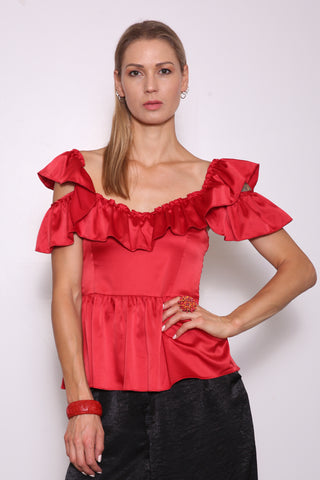 Merced Upcycled Peplum Top (from Dress), Red
