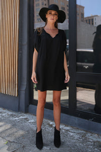 Merlyn Yoke Tunic/Dress w/ Bubble Sleeves, Black Bamboo