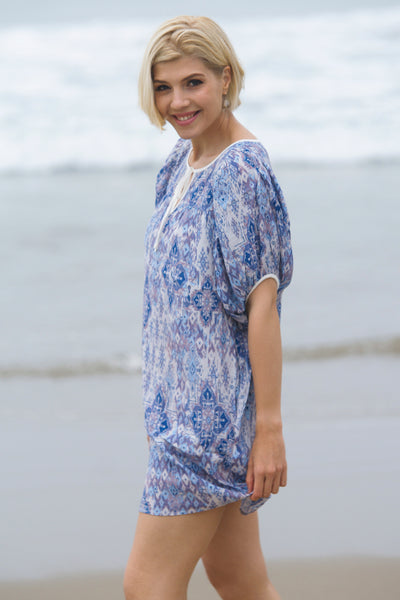 Merlyn Yoke Tunic/Dress w/ Bubble Sleeves, Ikat Print