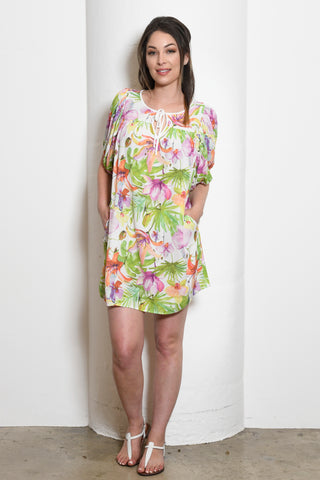 Merlyn Yoke Tunic/Dress w/ Bubble Sleeves, Orchid Floral