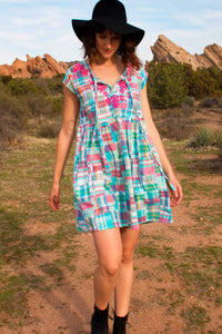 Kimberly Patchwork Plaid Dress, Turq/Pink