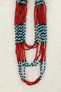 Myrna Tribal Beaded Necklace, Turq/Red