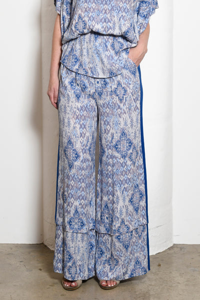Riley Convertible Wide-Leg Side Stripe Pants, Ikat Print