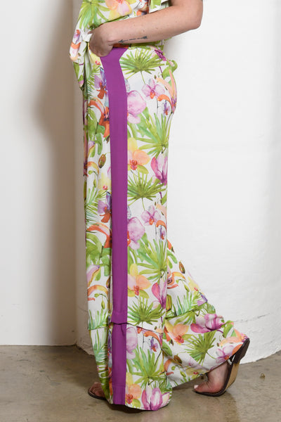 Riley Convertible Wide-Leg Side Stripe Pants, Orchid Floral