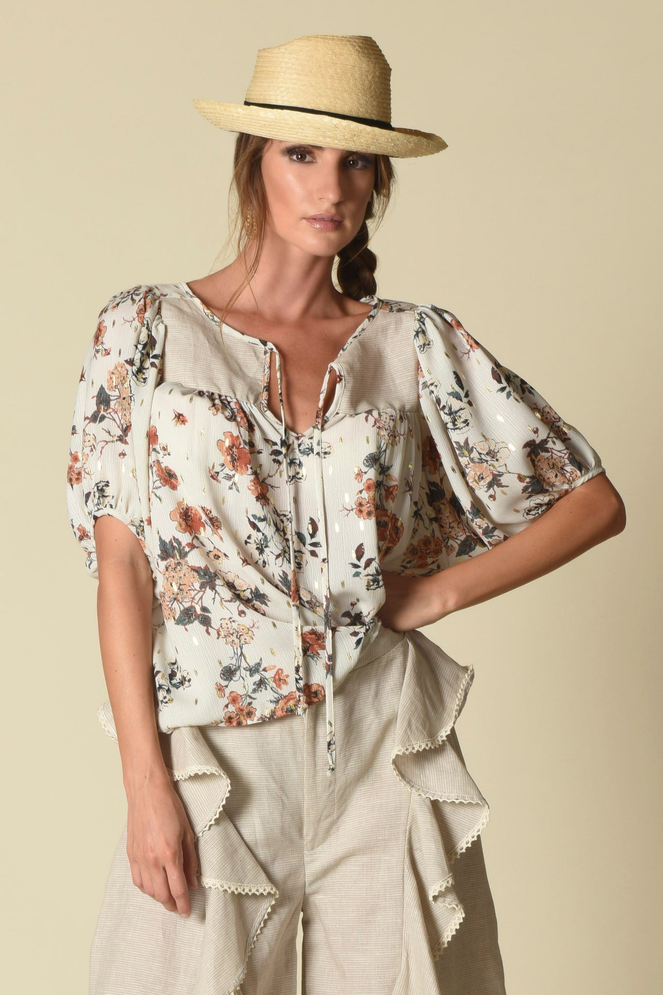Taryn Yoke Top w/ Short Bishop Sleeves, Urban Floral