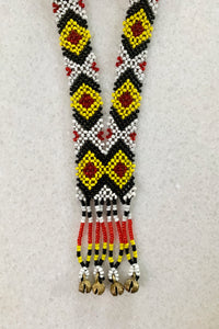 Todi Tribal Beaded Necklace, Black/Yellow