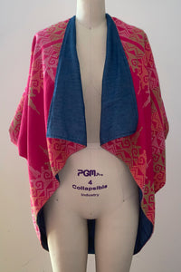Zero-Waste Reversible Cocoon Jacket, Fuschia-Multi