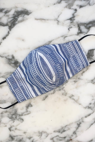 Yakan Reusable Tribal Mask, 005 Wht/Blue