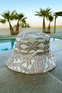 Yakan Handwoven Bucket Hat, 026 Ecru/Brick