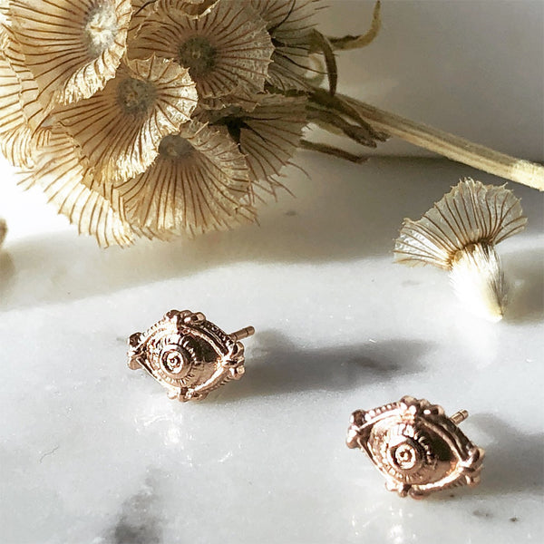 Evil Eye Rose Gold Stud Earrings - ASTOR + ORION ethically made jewelry