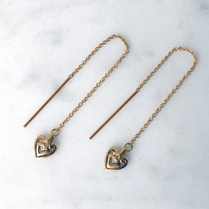 Heart Gold Threader Earring - ASTOR + ORION ethically made jewelry