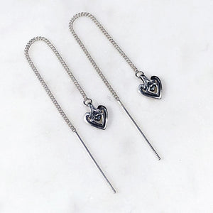 Heart Silver Threader Earring - ASTOR + ORION ethically made jewelry