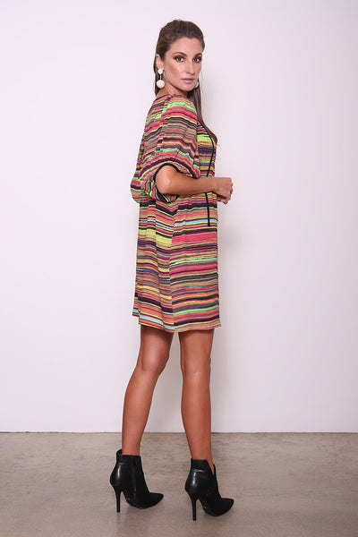 Merlyn Yoke Tunic/Dress w/ Bubble Sleeves, Multi Stripe