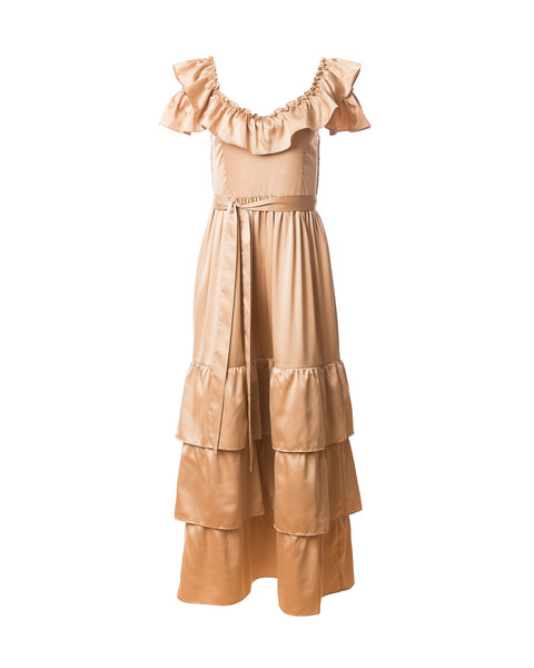 Mercy 3-way Convertible Dress, Champagne Gold