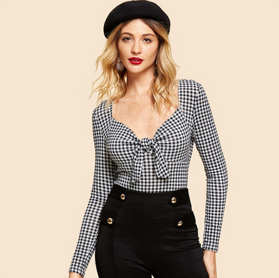 Izzy Monochrome Gingham Tie-Front Long Sleeve Top, Women's Tops, BEL EPOQ