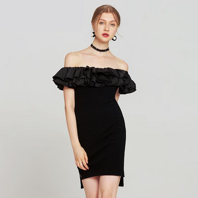 Claudia Off Shoulder Ruffle Mini Dress, Women's Dresses, BEL EPOQ