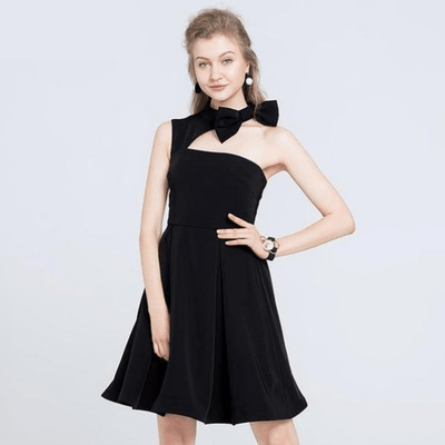 Emmanuelle One Shoulder Bow Collar Swing Dress, Women's Dresses, BEL EPOQ
