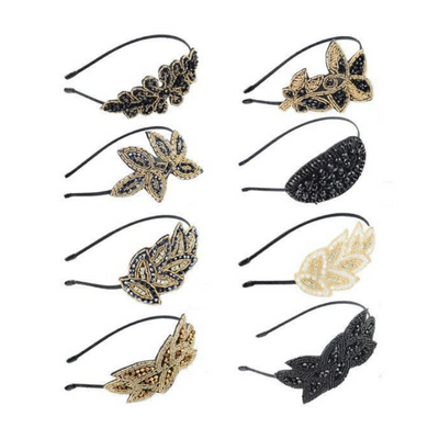 Louise Leaf Sequin Beaded Flapper Headband, Women's Accessories, BEL EPOQ