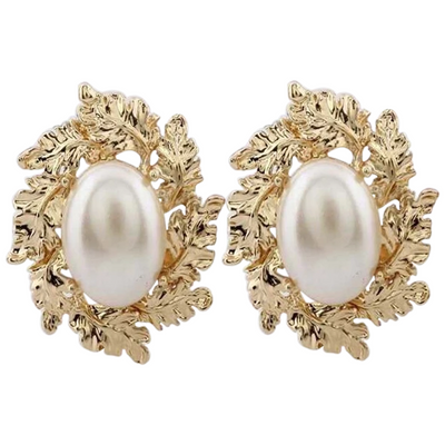 Wilhelmine Baroque Gold Leaf Pearl Stud Earrings, Women's Jewellery, BEL EPOQ