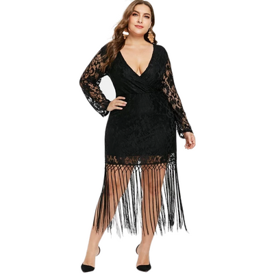 Amelia Plus Size Black Lace Flapper Mini Dress, Women's Plus Size, BEL EPOQ