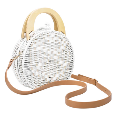 Audrey Wooden Handle Round Straw Messenger Handbag, Women's Bags, BEL EPOQ