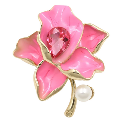 Gilded Flower Crystal Pearl Enamel Brooch Pin, Women's Jewellery, BEL EPOQ