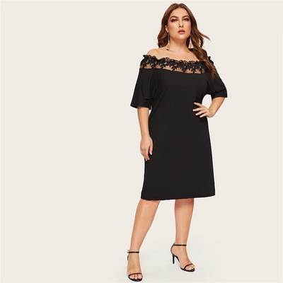 Margot Plus Size Off The Shoulder Lace Trim Dress, Women's Plus Size, BEL EPOQ