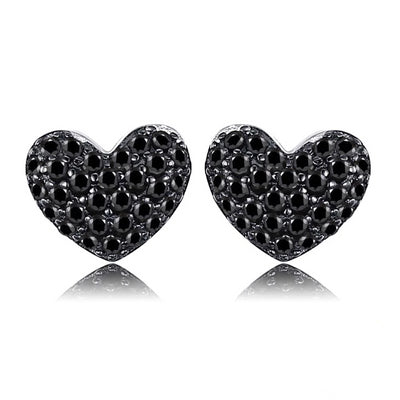 Noir Crystal Heart Sterling Silver Stud Earrings, Women's Jewellery, BEL EPOQ