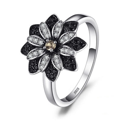 Noir Crystal Sterling Silver Flower Cocktail Ring, Women's Jewellery, BEL EPOQ