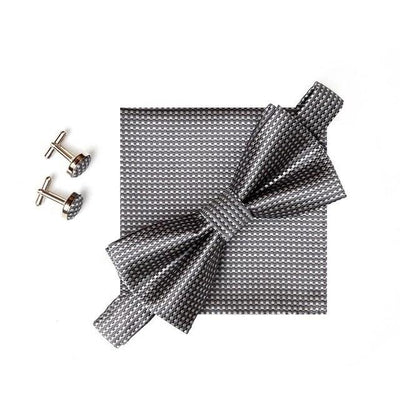 Dash Plaid Bow Tie Pocket Square Cufflinks Set, Men's Accessories, BEL EPOQ