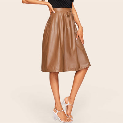 Donna Faux Leather Swing Skirt, Women's Skirts, BEL EPOQ