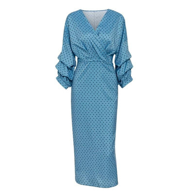 Ariel Polka Dot Statement Sleeve Midi Dress, Women's Dresses, BEL EPOQ
