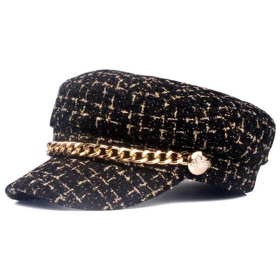 Willa Tweed Gold Chain Cap, Women's Accessories, BEL EPOQ