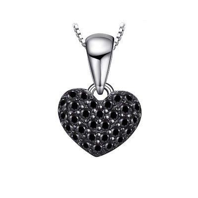 Noir Crystal Heart Sterling Silver Necklace Pendant, Women's Jewellery, BEL EPOQ