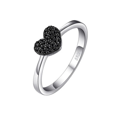 Noir Crystal Heart Sterling Silver Ring, Women's Jewellery, BEL EPOQ