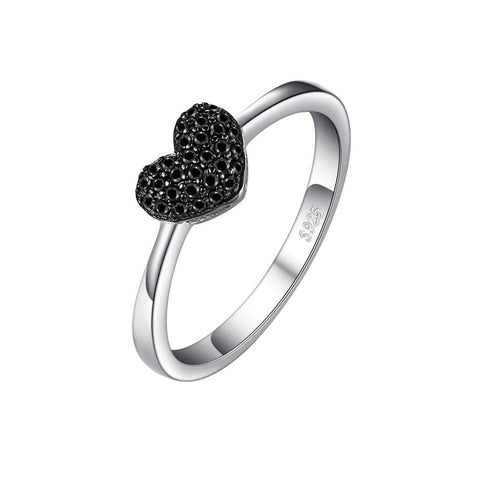Noir Crystal Heart Sterling Silver Ring
