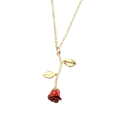 Camila Red Rose Pendant Necklace