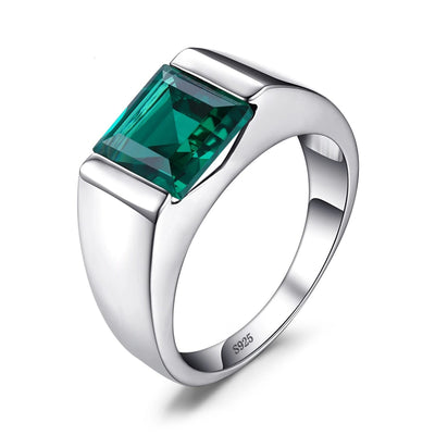 Emerald Sterling Silver Signet Ring, Men's Jewellery, BEL EPOQ