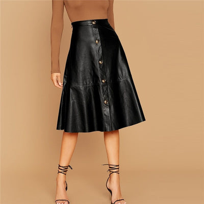 Nina Button Front Faux Leather A-Line Skirt, Women's Skirts, BEL EPOQ