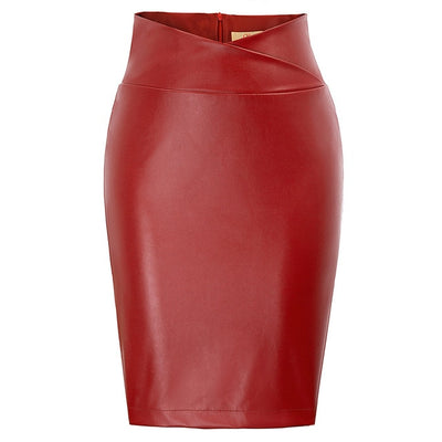 Poppy Crossover Faux Leather Pencil Skirt, Women's Skirts, BEL EPOQ