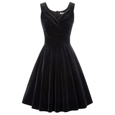 Black Velvet Swing Party Dress, Women's Dresses, BEL EPOQ