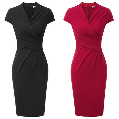 Draper Wrap Pencil Dress, Women's Dresses, BEL EPOQ