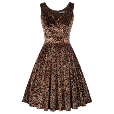 Leopard Velvet Swing Party Dress, Women's Dresses, BEL EPOQ